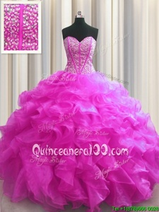 Designer Visible Boning Beading and Ruffles Vestidos de Quinceanera Fuchsia Lace Up Sleeveless Floor Length