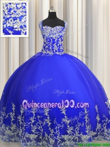 Custom Designed Organza Halter Top Sleeveless Lace Up Beading and Appliques Quinceanera Dresses inRoyal Blue