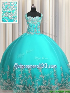 Fitting Beading and Appliques Vestidos de Quinceanera Aqua Blue Lace Up Sleeveless Floor Length