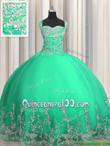 Artistic Turquoise Organza Lace Up Sweetheart Sleeveless Floor Length 15th Birthday Dress Beading and Appliques