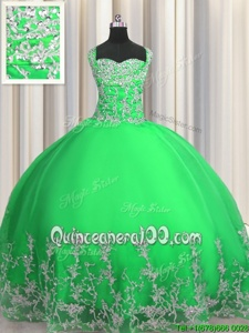 Customized Apple Green Lace Up Sweet 16 Dress Beading and Appliques Sleeveless Floor Length