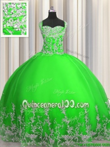 Simple Green Lace Up Straps Beading and Appliques 15th Birthday Dress Tulle Sleeveless