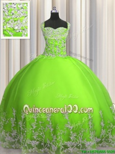 Classical Straps Sleeveless Lace Up Ball Gown Prom Dress Spring Green Tulle