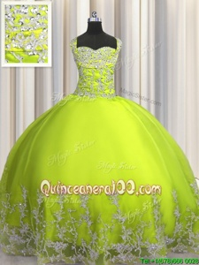 Gorgeous Floor Length Ball Gowns Sleeveless Yellow Green Sweet 16 Quinceanera Dress Lace Up