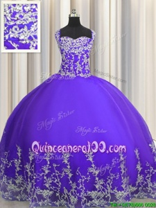 Low Price Purple Lace Up Quince Ball Gowns Beading and Appliques Sleeveless Floor Length