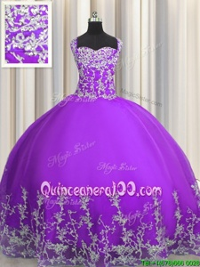 Spectacular Sleeveless Tulle Floor Length Lace Up Quinceanera Dress inEggplant Purple forSpring and Summer and Fall and Winter withBeading and Appliques
