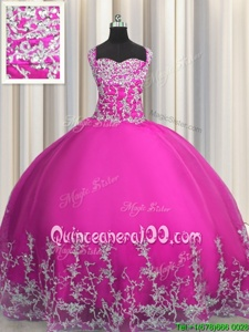 Sexy Fuchsia Ball Gowns Tulle Straps Sleeveless Beading and Appliques Floor Length Lace Up Sweet 16 Quinceanera Dress