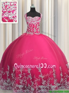 Popular Straps Sleeveless Tulle Ball Gown Prom Dress Beading and Appliques Lace Up