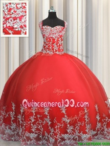 Pretty Coral Red Lace Up Quinceanera Dress Beading and Appliques Sleeveless Floor Length