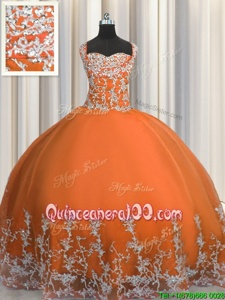 Fashionable Orange Straps Neckline Beading and Appliques Quinceanera Dresses Sleeveless Lace Up