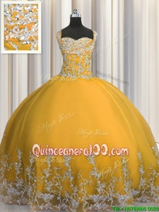 Hot Sale Spring and Summer and Fall and Winter Tulle Sleeveless Floor Length Quinceanera Dresses andBeading and Appliques