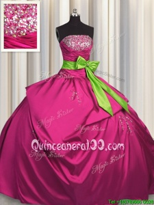 Glorious Bowknot Fuchsia Sleeveless Satin Lace Up Sweet 16 Quinceanera Dress forMilitary Ball and Sweet 16 and Quinceanera