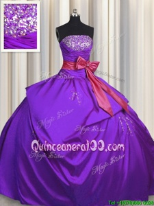 Glittering Floor Length Purple Quinceanera Dresses Taffeta Sleeveless Spring and Summer and Fall and Winter Beading and Bowknot