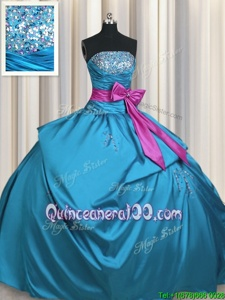 Discount Floor Length Lace Up Quinceanera Dresses Teal and In forMilitary Ball and Sweet 16 and Quinceanera withBeading and Ruching and Bowknot