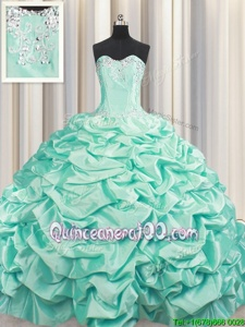 Brush Train Sleeveless Beading and Pick Ups Lace Up 15 Quinceanera Dress