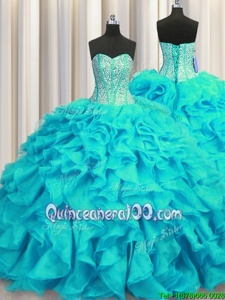 Vintage Visible Boning Sweetheart Sleeveless Organza Quince Ball Gowns Beading and Ruffles Brush Train Lace Up