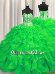 Visible Boning Green Sweetheart Lace Up Beading and Ruffles Quinceanera Dresses Brush Train Sleeveless