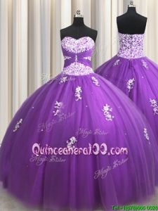 Beautiful Purple Sleeveless Beading and Appliques Floor Length 15th Birthday Dress