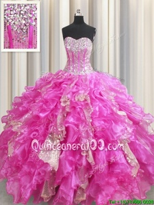 Super Visible Boning Fuchsia Ball Gowns Beading and Ruffles and Sequins Quinceanera Gown Lace Up Organza and Sequined Sleeveless Floor Length