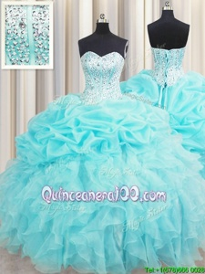 Dazzling Pick Ups Visible Boning Floor Length Aqua Blue Quinceanera Gown Sweetheart Sleeveless Lace Up