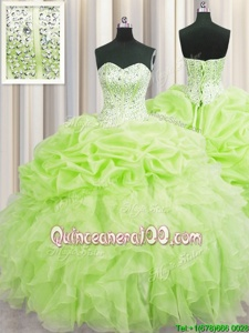 High End Visible Boning Yellow Green Ball Gowns Sweetheart Sleeveless Organza Floor Length Lace Up Beading and Ruffles and Pick Ups Quince Ball Gowns