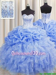Discount Visible Boning Baby Blue Lace Up Sweetheart Ruffles and Pick Ups Vestidos de Quinceanera Organza Sleeveless