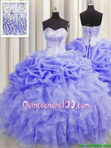 Elegant Visible Boning Sweetheart Sleeveless Vestidos de Quinceanera Floor Length Beading and Ruffles and Pick Ups Lavender Organza