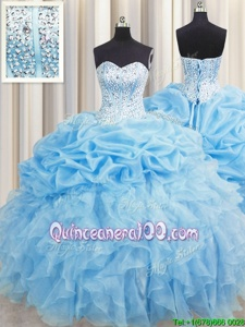 Eye-catching Visible Boning Baby Blue Lace Up Vestidos de Quinceanera Beading and Ruffles and Pick Ups Sleeveless Floor Length