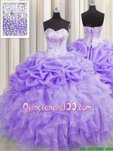 Low Price Visible Boning Lavender Sweetheart Neckline Beading and Ruffles and Pick Ups Quinceanera Dress Sleeveless Lace Up