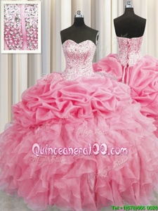 Sweet Visible Boning Rose Pink Ball Gown Prom Dress Military Ball and Sweet 16 and Quinceanera and For withBeading and Ruffles Sweetheart Sleeveless Lace Up