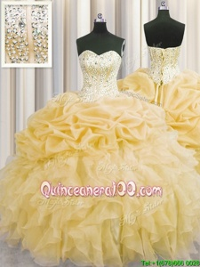 Visible Boning Organza Sweetheart Sleeveless Lace Up Beading and Ruffles Quinceanera Dress inGold