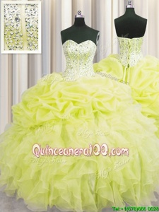 Stunning Visible Boning Ball Gowns Quinceanera Dress Yellow Green Sweetheart Organza Sleeveless Floor Length Lace Up