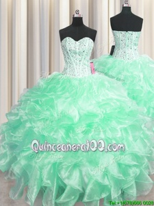Dramatic Visible Boning Apple Green Ball Gowns Beading and Ruffles Quinceanera Dresses Zipper Organza Sleeveless Floor Length