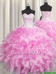 Artistic Visible Boning Zipper Up Rose Pink Zipper Quinceanera Gown Beading and Ruffles Sleeveless Floor Length