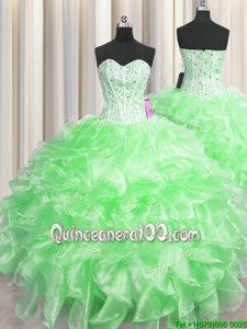 Inexpensive Visible Boning Sweetheart Sleeveless Zipper Ball Gown Prom Dress Spring Green Organza