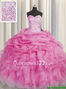 Beautiful Rose Pink Sleeveless Organza Lace Up Quinceanera Dresses forMilitary Ball and Sweet 16 and Quinceanera
