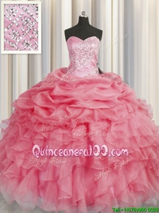 Sumptuous Coral Red Ball Gowns Organza Sweetheart Sleeveless Beading and Ruffles Floor Length Lace Up 15th Birthday Dress
