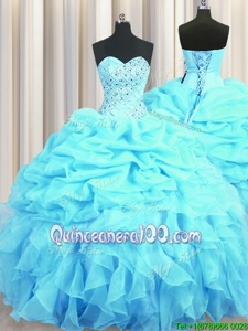 Sexy Aqua Blue Sweetheart Lace Up Beading and Ruffles and Pick Ups Vestidos de Quinceanera Sleeveless