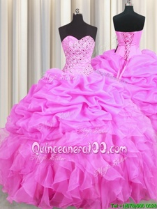 Inexpensive Pick Ups Rose Pink Sleeveless Organza Lace Up Ball Gown Prom Dress forMilitary Ball and Sweet 16 and Quinceanera