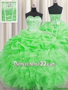 Colorful Visible Boning Sleeveless Organza Floor Length Lace Up Ball Gown Prom Dress inGreen forSpring and Summer and Fall and Winter withBeading and Ruffles and Pick Ups