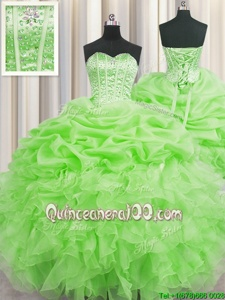 High Quality Visible Boning Spring Green Sleeveless Beading and Ruffles and Pick Ups Floor Length Quinceanera Dresses