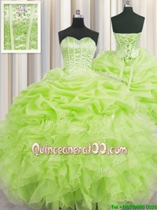 Visible Boning Floor Length Lace Up Quince Ball Gowns Yellow Green and In forMilitary Ball and Sweet 16 and Quinceanera withBeading and Ruffles and Pick Ups