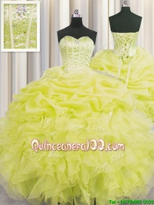 Customized Visible Boning Yellow Sweetheart Neckline Beading and Ruffles and Pick Ups 15 Quinceanera Dress Sleeveless Lace Up