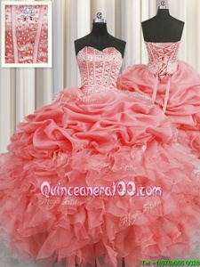 Free and Easy Visible Boning Sleeveless Floor Length Beading and Ruffles and Pick Ups Lace Up 15 Quinceanera Dress with Watermelon Red