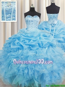 Custom Made Visible Boning Baby Blue Organza Lace Up Sweet 16 Quinceanera Dress Sleeveless Floor Length Beading and Ruffles and Pick Ups