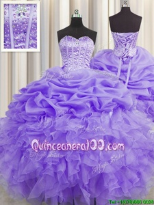 Custom Fit Pick Ups Visible Boning Floor Length Lavender 15 Quinceanera Dress Sweetheart Sleeveless Lace Up