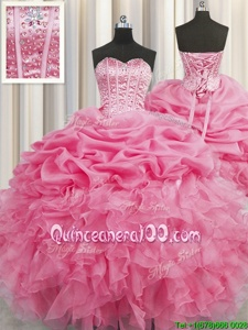 Chic Pick Ups Visible Boning Floor Length Ball Gowns Sleeveless Rose Pink Quinceanera Gowns Lace Up