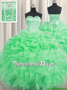 Sumptuous Visible Boning Spring Green Organza Lace Up Sweetheart Sleeveless Floor Length Quinceanera Dresses Beading and Ruffles and Pick Ups
