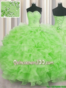 High Quality Yellow Green Sleeveless Floor Length Beading and Ruffles Lace Up Sweet 16 Dresses