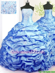 Admirable Baby Blue Sleeveless Sweep Train Beading and Pick Ups With Train Quince Ball Gowns